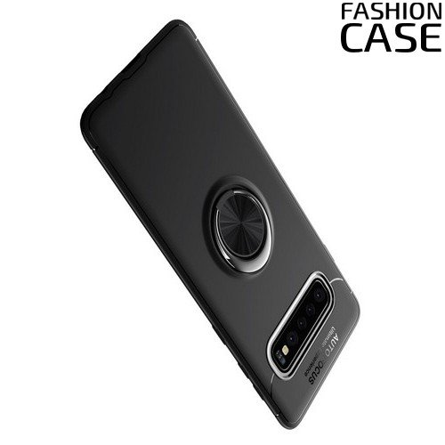 ArmaRing Двухкомпонентный чехол для Samsung Galaxy S10 с кольцом для магнитного автомобильного держателя - Черный