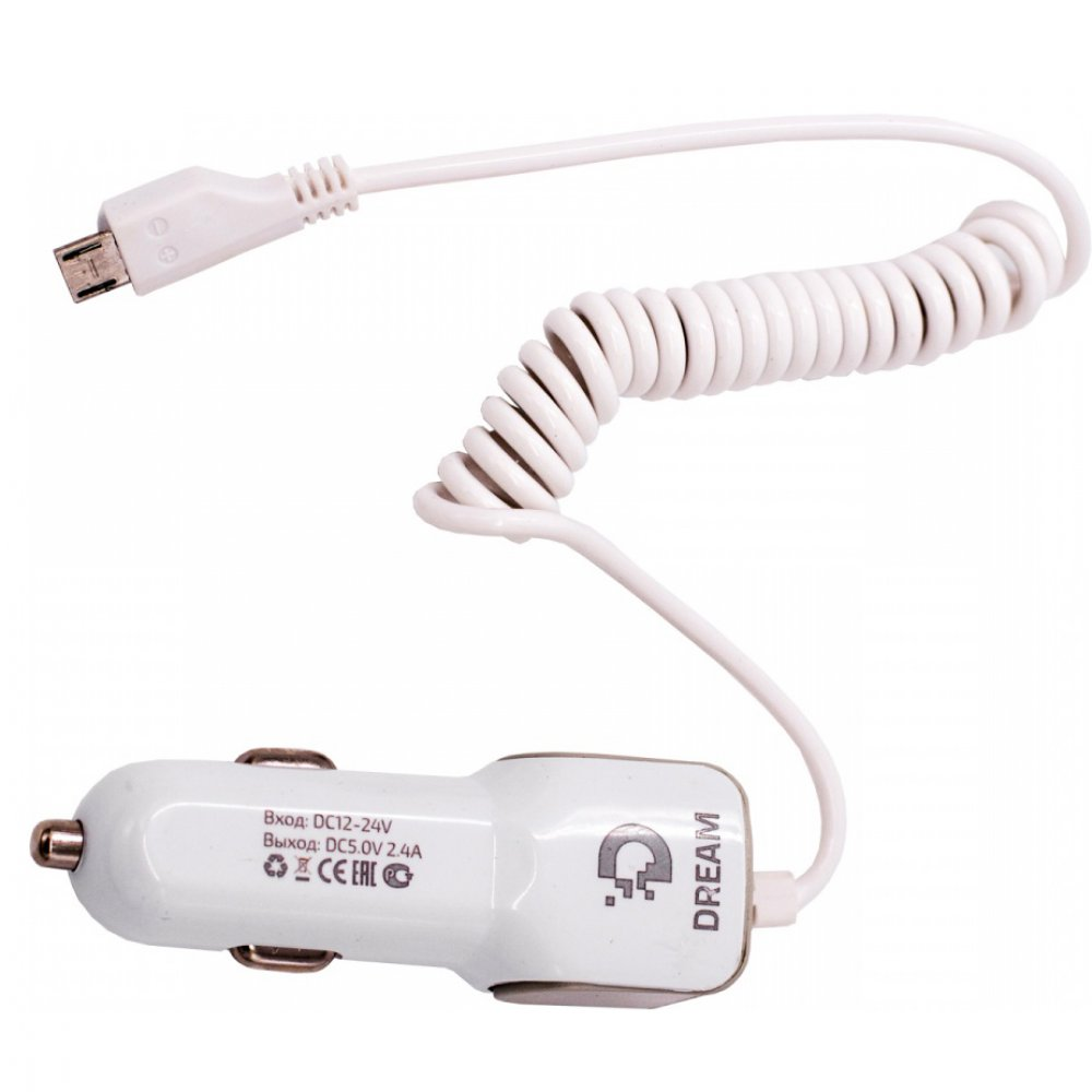 Автомобильное зарядное устройство с MicroUsb кабелем