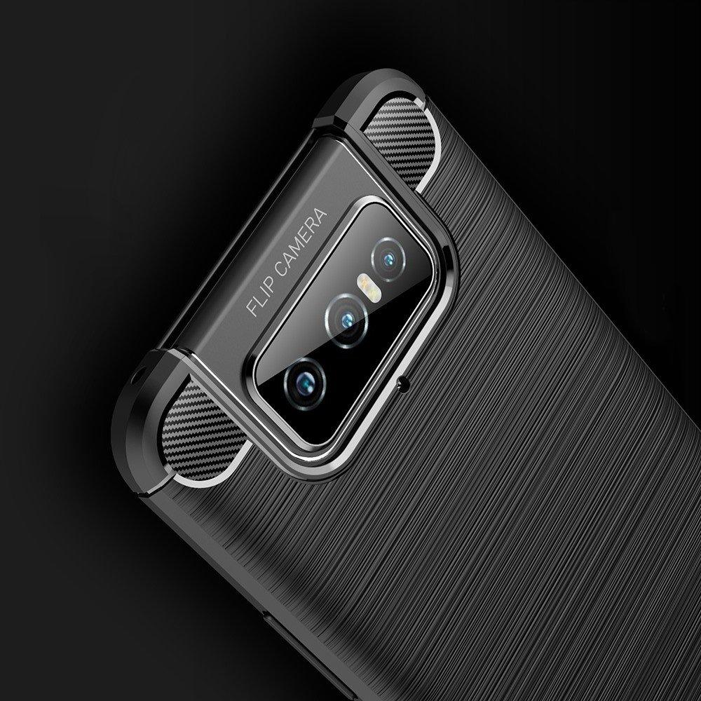 Carbon Силиконовый матовый чехол для Asus Zenfone 7 ZS670KS - Черный
