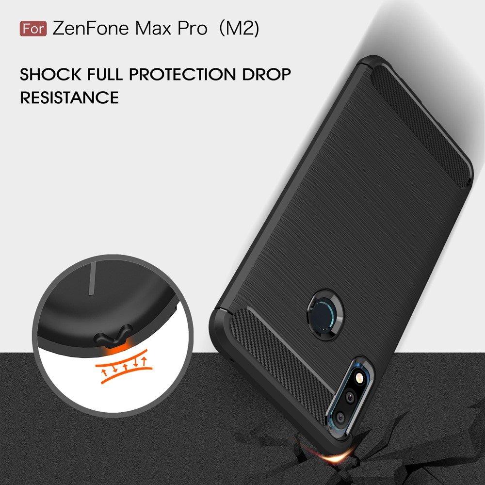 Carbon Силиконовый матовый чехол для Asus Zenfone Max Pro M2 Pro ZB631KL - Синий