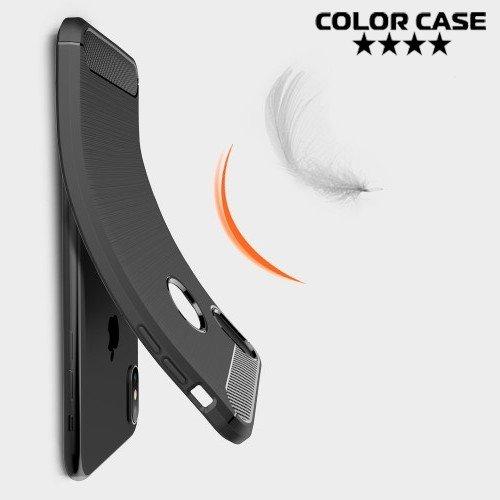 Carbon Силиконовый матовый чехол для iPhone XS Max - Коралловый