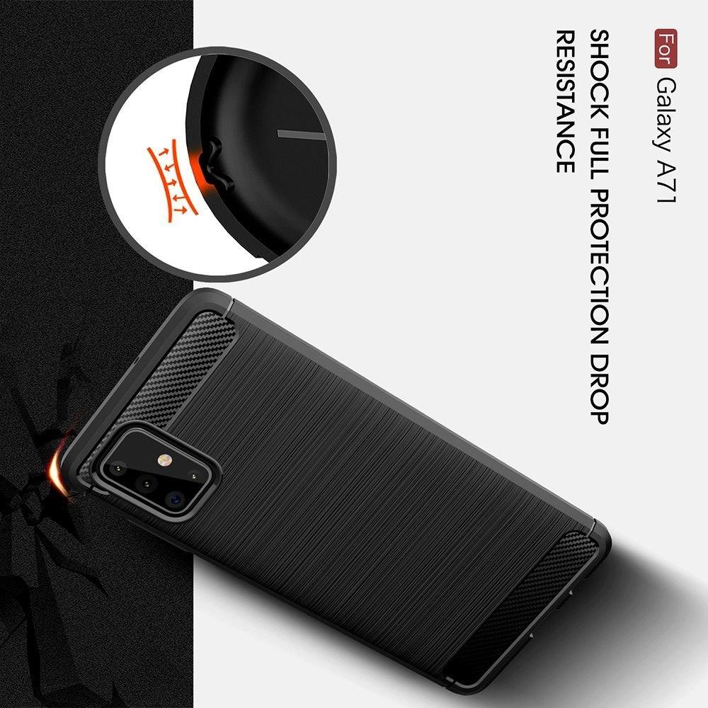 Carbon Силиконовый матовый чехол для Samsung Galaxy A71 - Красный