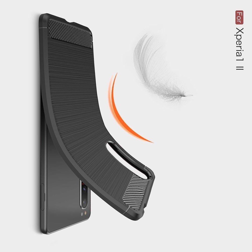 Carbon Силиконовый матовый чехол для Sony Xperia 1 II - Красный