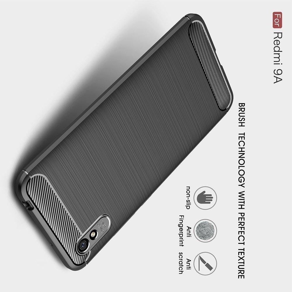 Carbon Силиконовый матовый чехол для Xiaomi Redmi 9A - Черный