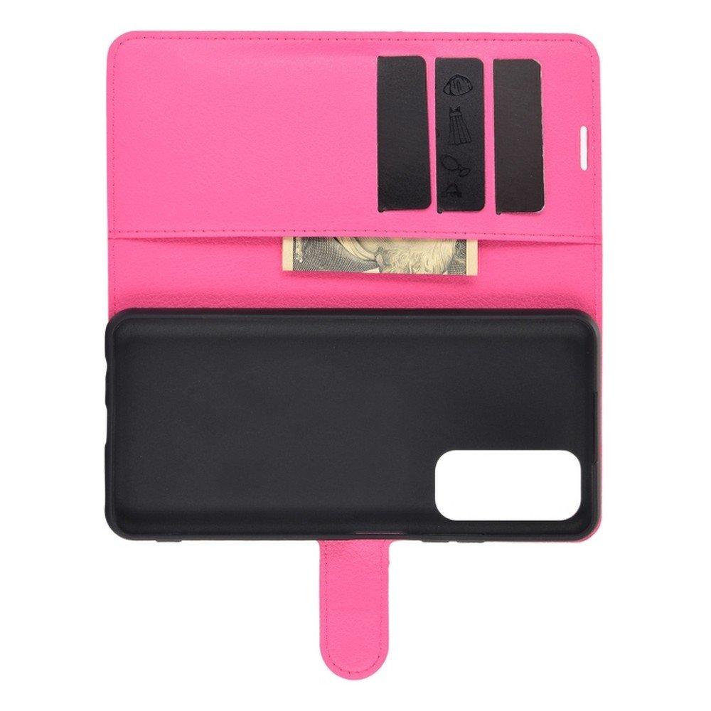 Чехол книжка для Huawei P Smart 2021 отделения для карт и подставка Розовый цвет