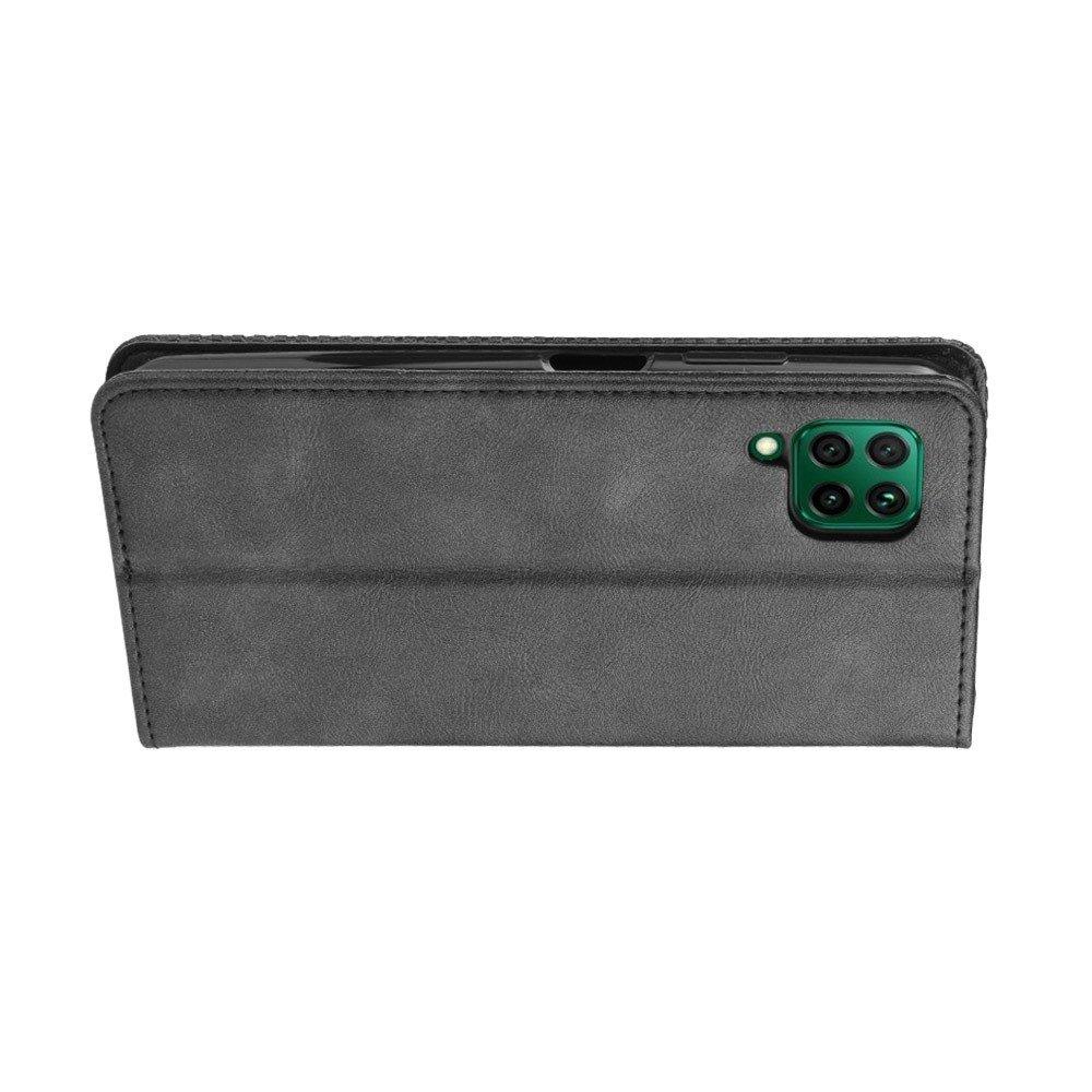 Чехол книжка для Huawei P40 Lite с магнитом и отделением для карты - Серый цвет