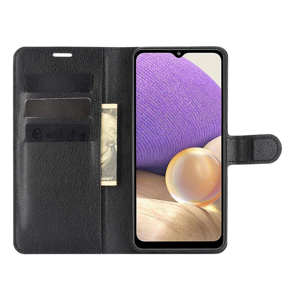 Чехол книжка для Samsung Galaxy A32 отделения для карт и подставка Черный