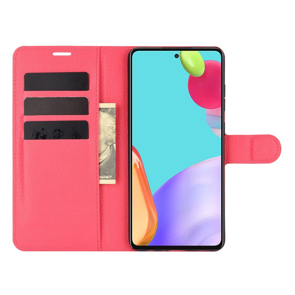 Чехол книжка для Samsung Galaxy A52 отделения для карт и подставка Красный