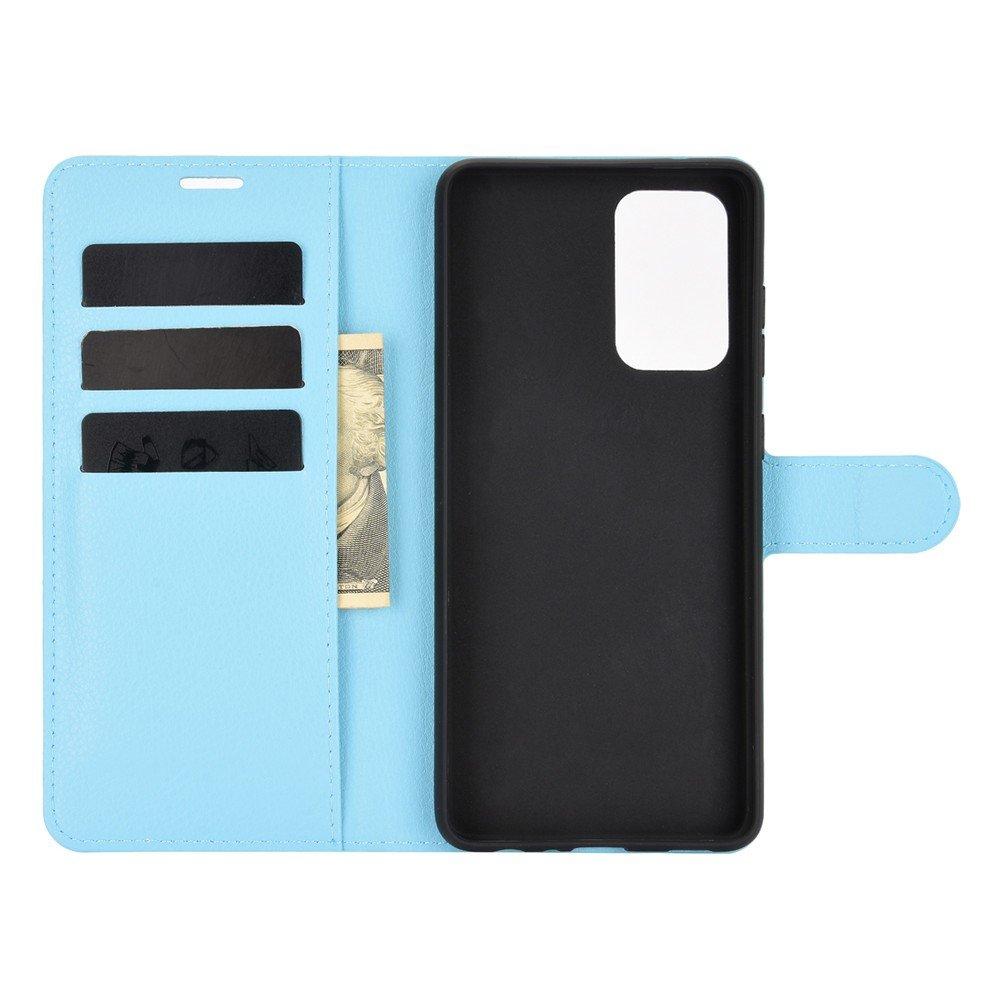 Чехол книжка для Samsung Galaxy A52 отделения для карт и подставка Синий
