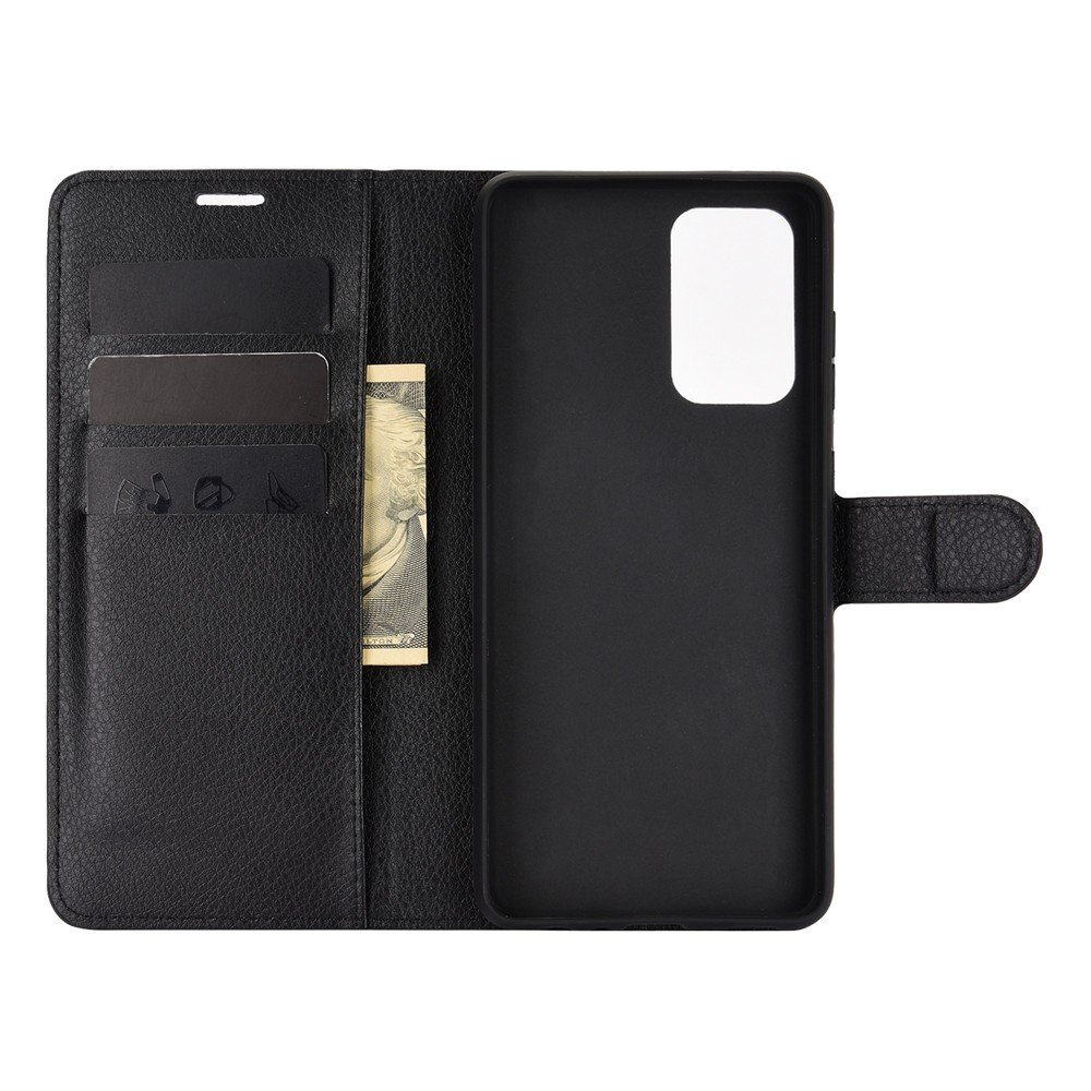 Чехол книжка для Samsung Galaxy A72 отделения для карт и подставка Черный