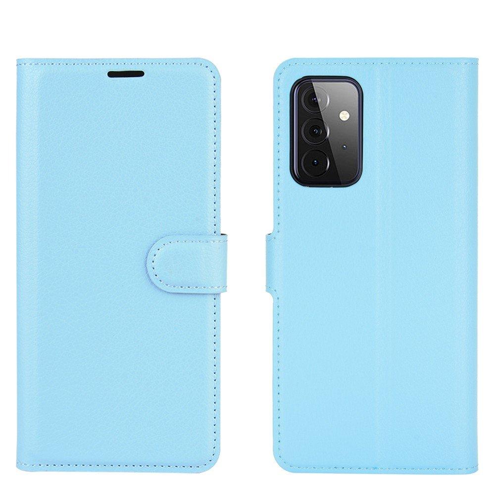 Чехол книжка для Samsung Galaxy A72 отделения для карт и подставка Синий