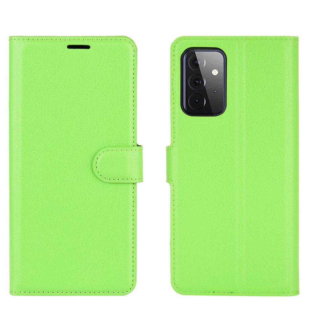Чехол книжка для Samsung Galaxy A72 отделения для карт и подставка Зеленый