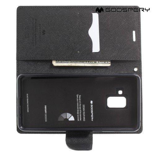 Чехол книжка для Samsung Galaxy A8 2018 Mercury Goospery - Черный