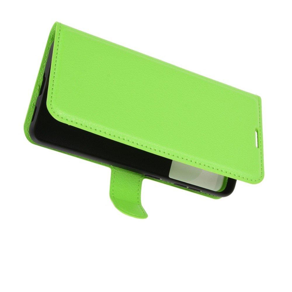 Чехол книжка для Samsung Galaxy S21 отделения для карт и подставка Зеленый
