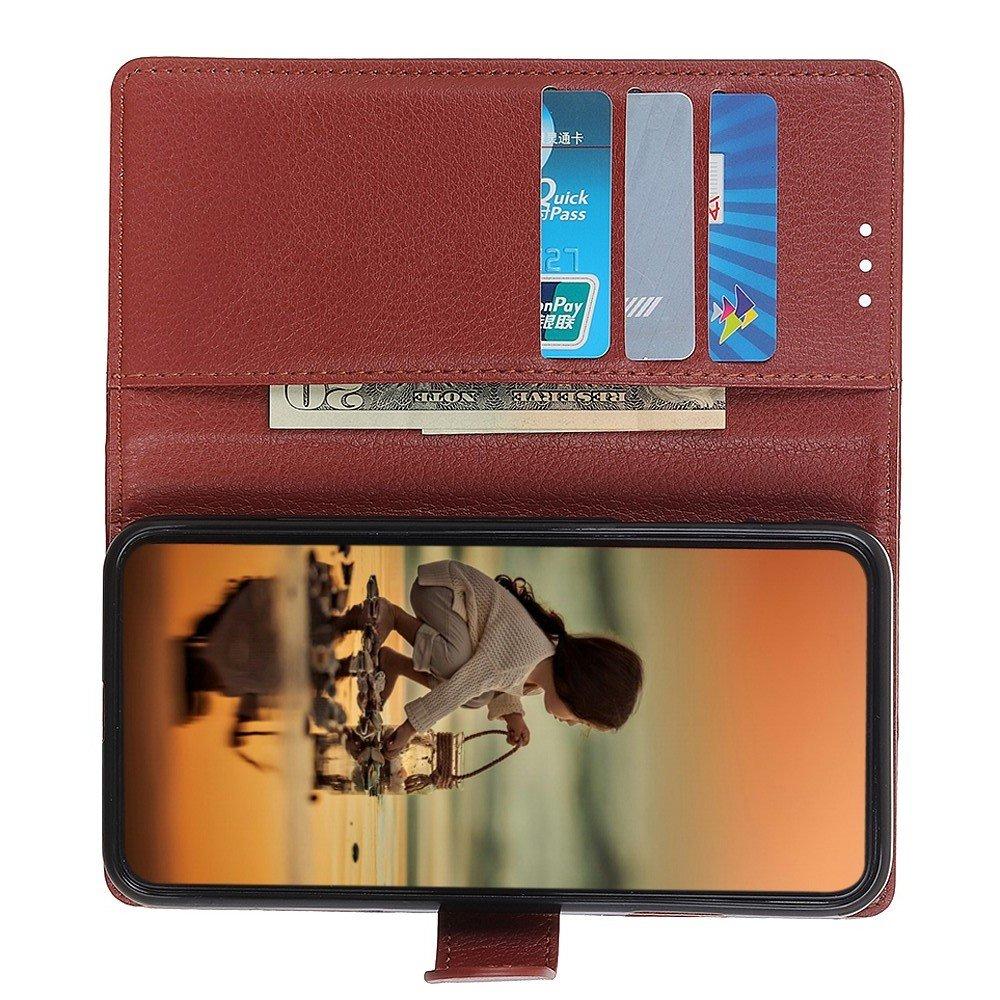 Чехол книжка для Sony Xperia 1 II отделения для карт и подставка Коричневый