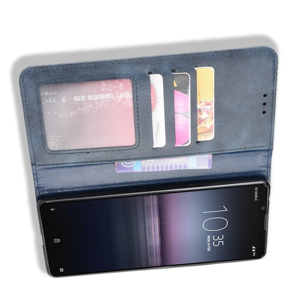 Чехол книжка для Sony Xperia 1 II с магнитом и отделением для карты - Синий