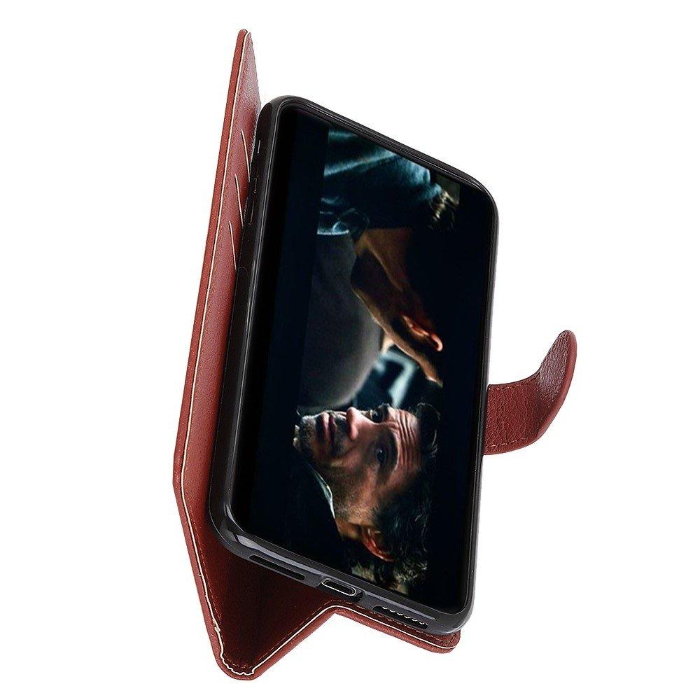 Чехол книжка для Sony Xperia 10 II отделения для карт и подставка Коричневый