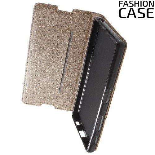 Чехол книжка для Sony Xperia Z5 с скрытой магнитной застежкой - Золотой