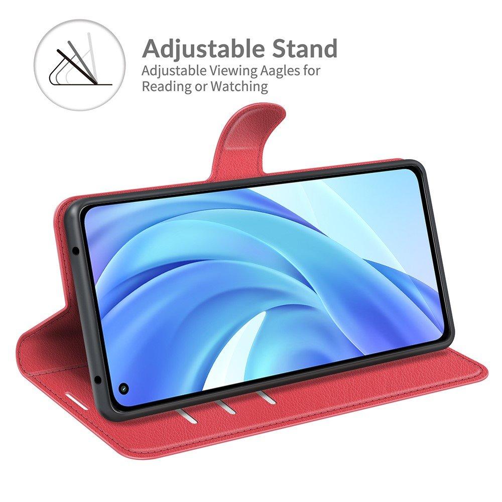 Чехол книжка для Xiaomi Mi 11 Lite отделения для карт и подставка Красный