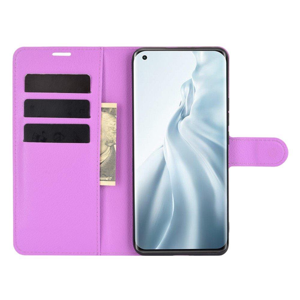 Чехол книжка для Xiaomi Mi 11 отделения для карт и подставка Фиолетовый