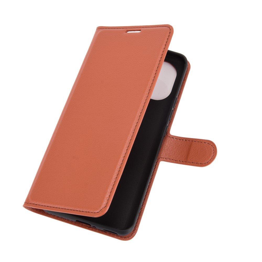 Чехол книжка для Xiaomi Mi 11 отделения для карт и подставка Коричневый