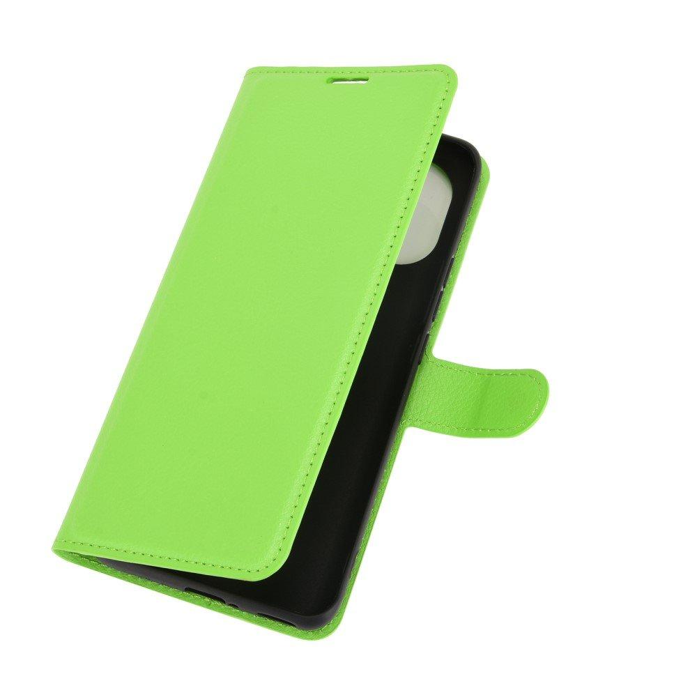Чехол книжка для Xiaomi Mi 11 отделения для карт и подставка Зеленый