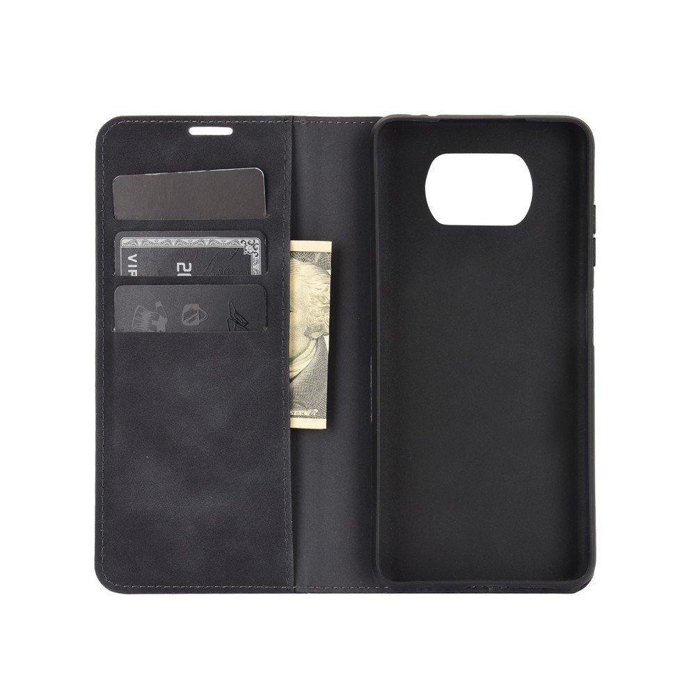 Чехол книжка для Xiaomi Poco X3 NFC с магнитом и отделением для карты - Черный
