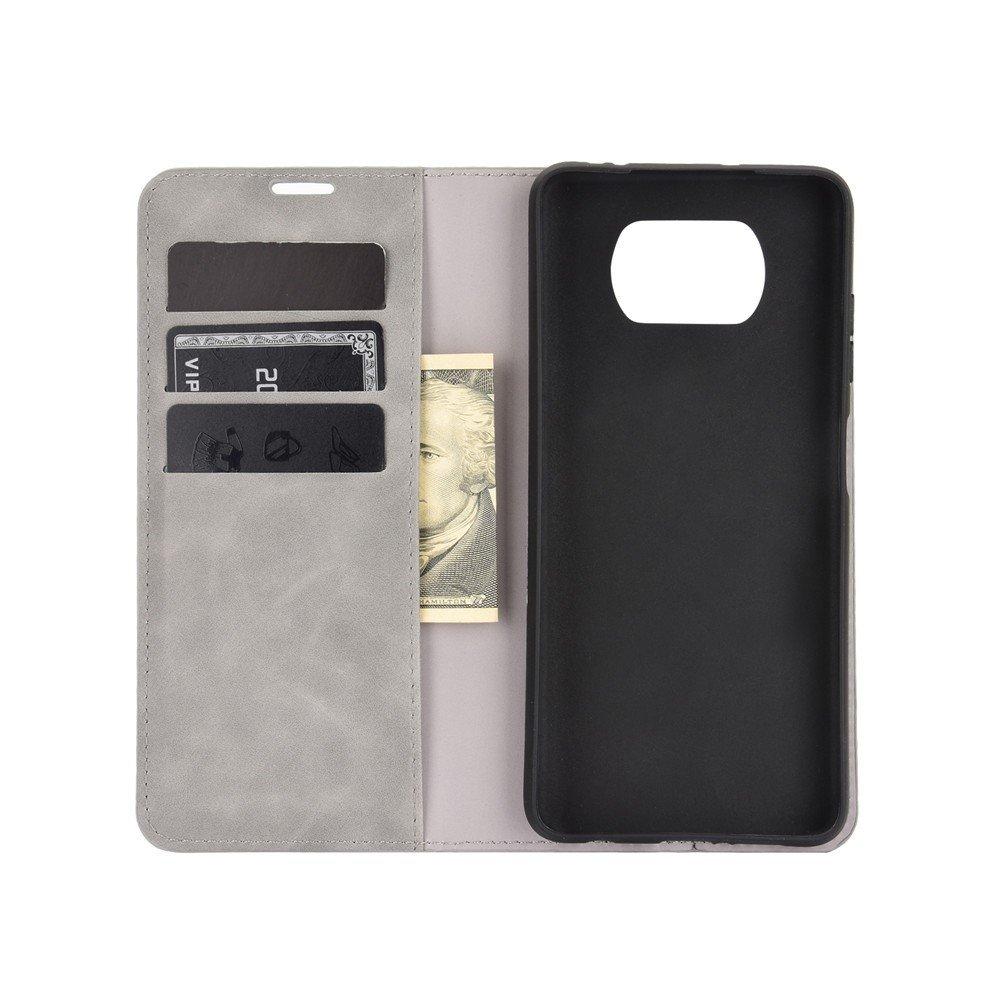 Чехол книжка для Xiaomi Poco X3 NFC с магнитом и отделением для карты - Серый