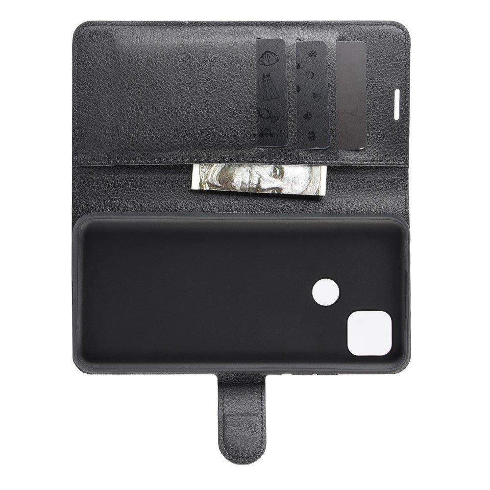 Чехол книжка для Xiaomi Redmi 9C отделения для карт и подставка Черный