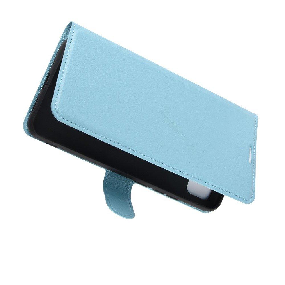 Чехол книжка для Xiaomi Redmi 9C отделения для карт и подставка Голубой