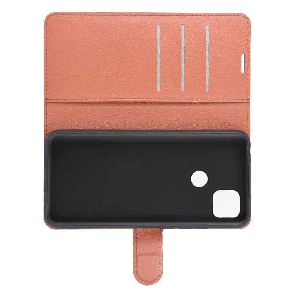 Чехол книжка для Xiaomi Redmi 9C отделения для карт и подставка Коричневый