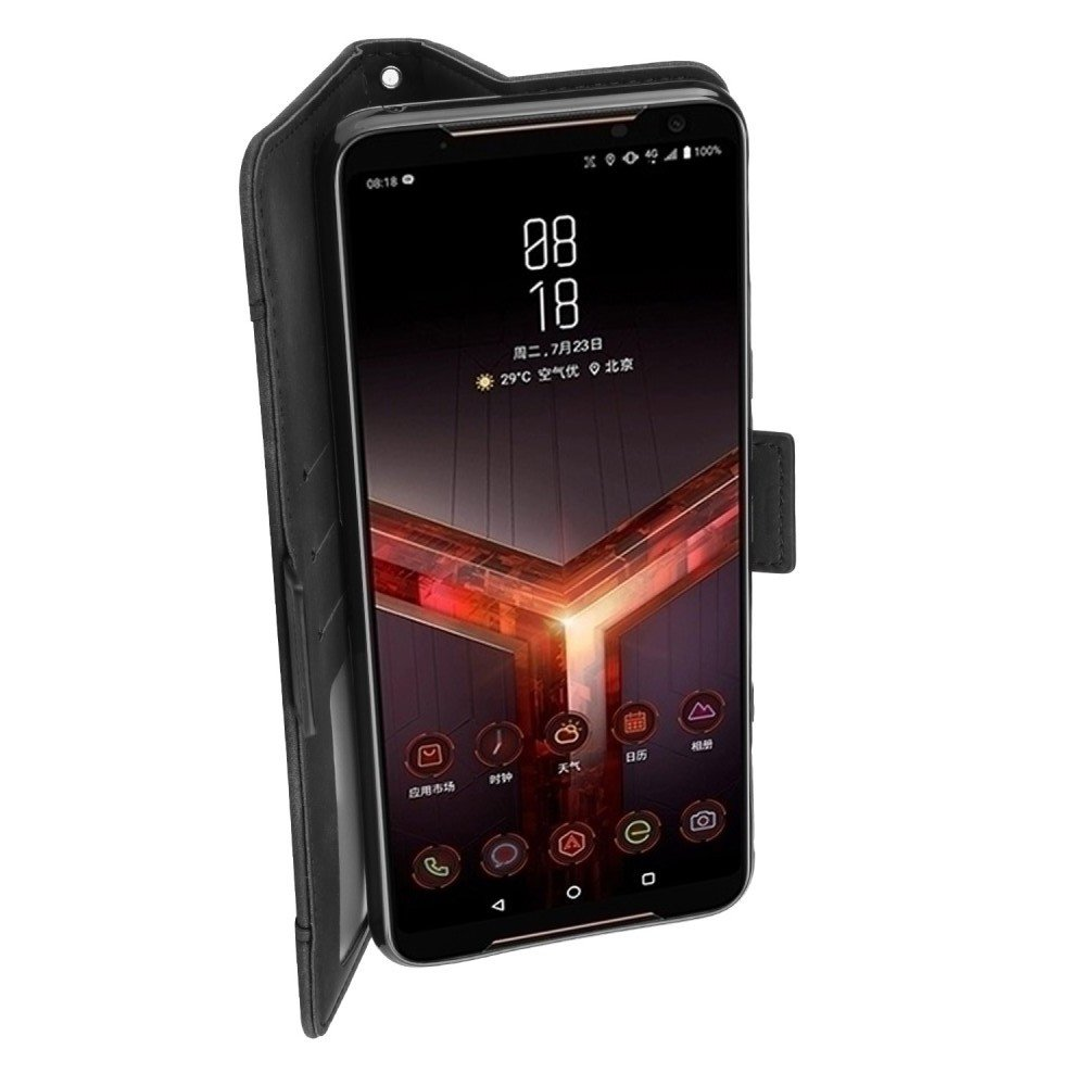 Чехол книжка кошелек с отделениями для карт и подставкой для Asus ROG Phone 2 - Черный