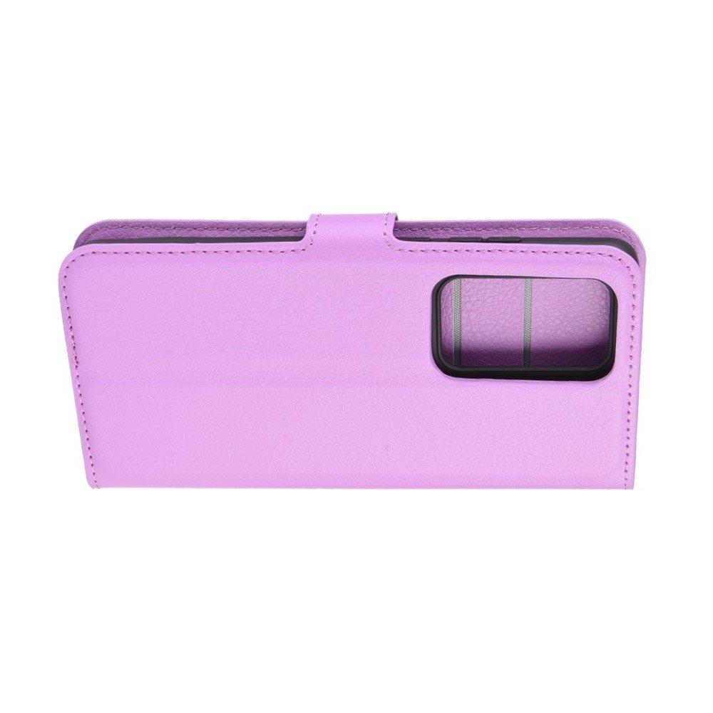 Чехол книжка кошелек с отделениями для карт и подставкой для Huawei P40 Pro - Фиолетовый