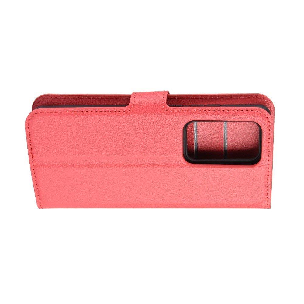 Чехол книжка кошелек с отделениями для карт и подставкой для Huawei P40 Pro - Красный