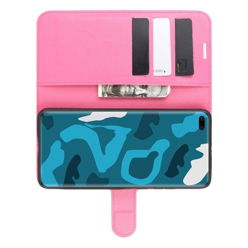 Чехол книжка кошелек с отделениями для карт и подставкой для Huawei P40 Pro - Светло-Розовый