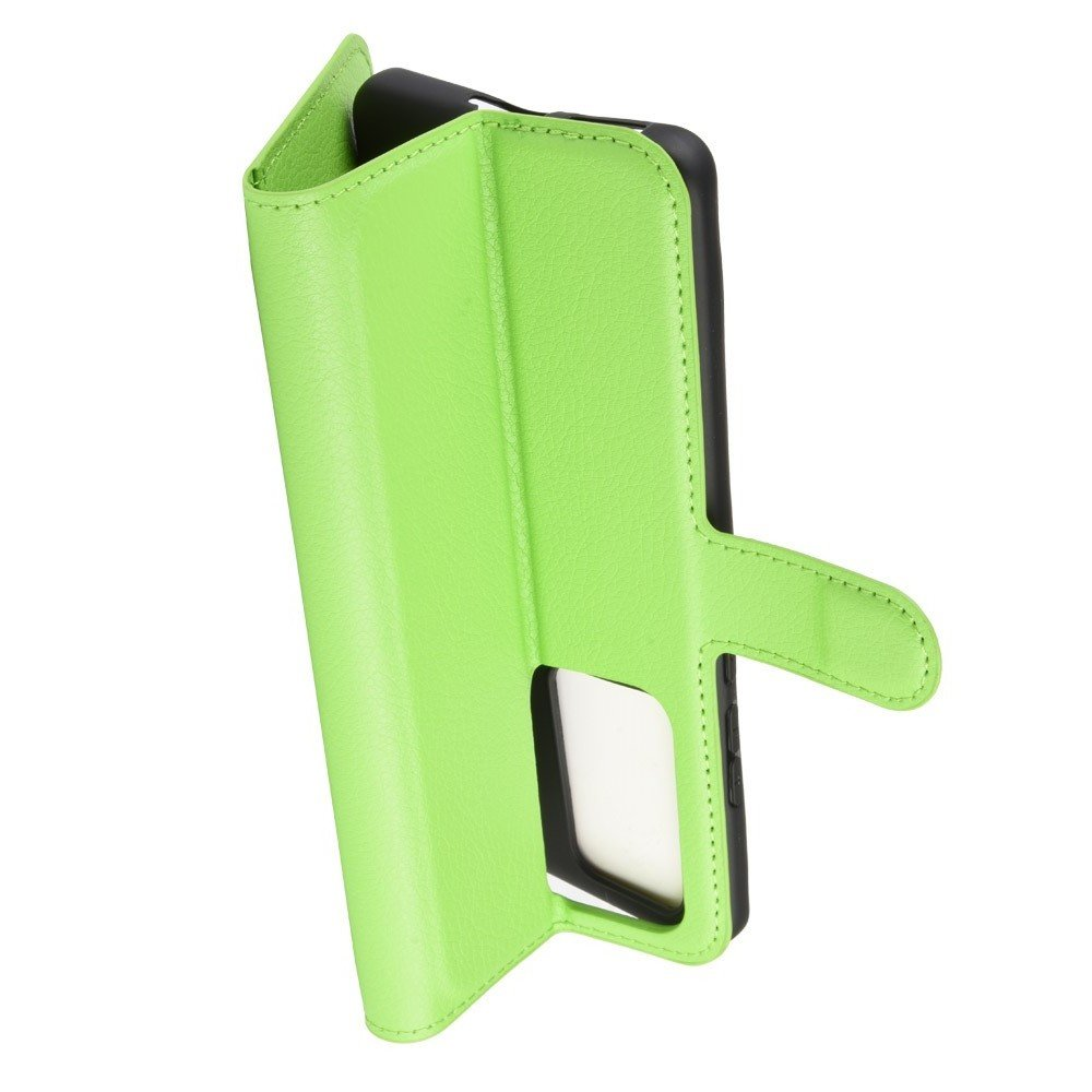 Чехол книжка кошелек с отделениями для карт и подставкой для Huawei P40 Pro - Зеленый