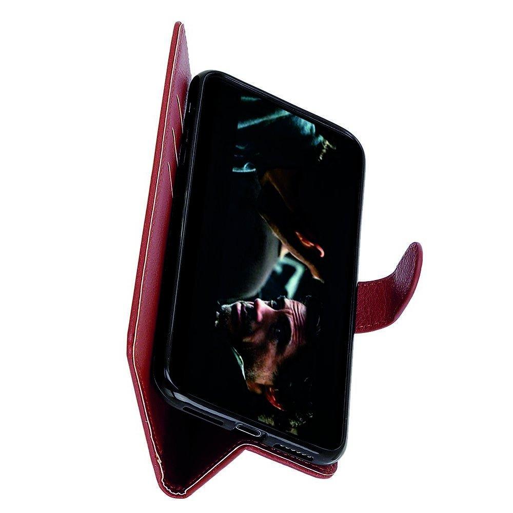 Чехол книжка кошелек с отделениями для карт и подставкой для Samsung Galaxy A70s - Коричневый