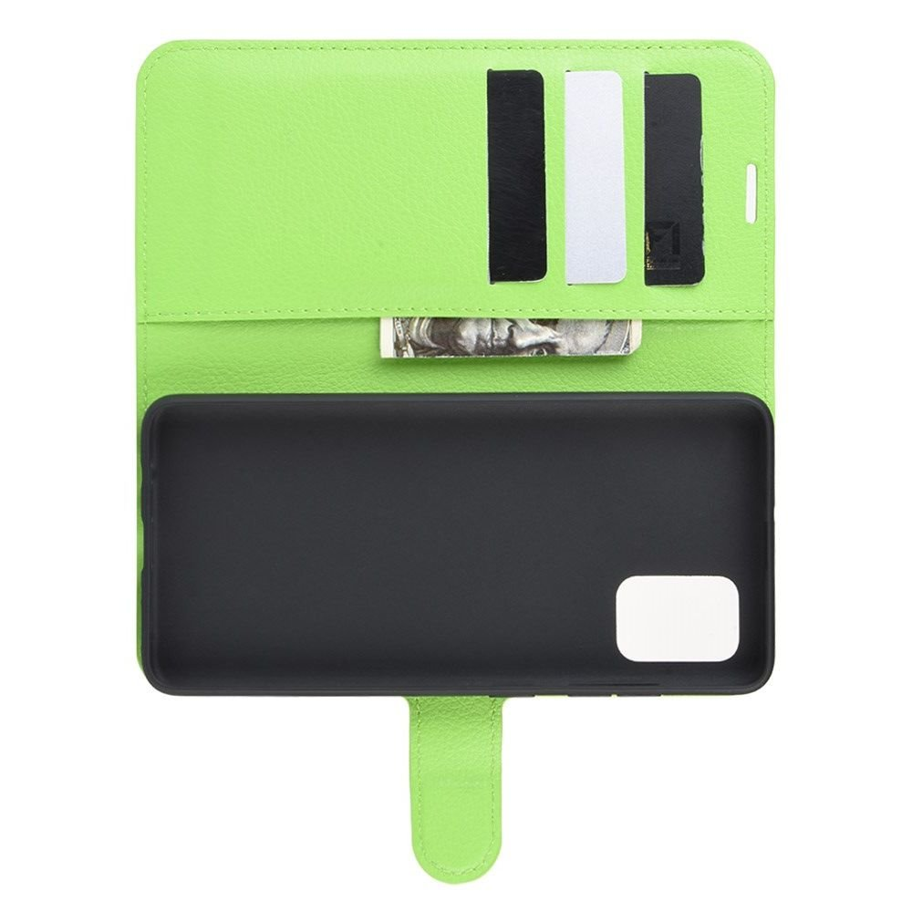 Чехол книжка кошелек с отделениями для карт и подставкой для Samsung Galaxy A71 - Зеленый