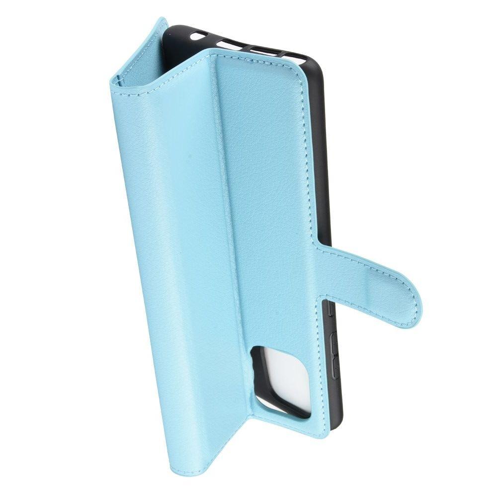 Чехол книжка кошелек с отделениями для карт и подставкой для Samsung Galaxy Note 10 Lite - Синий