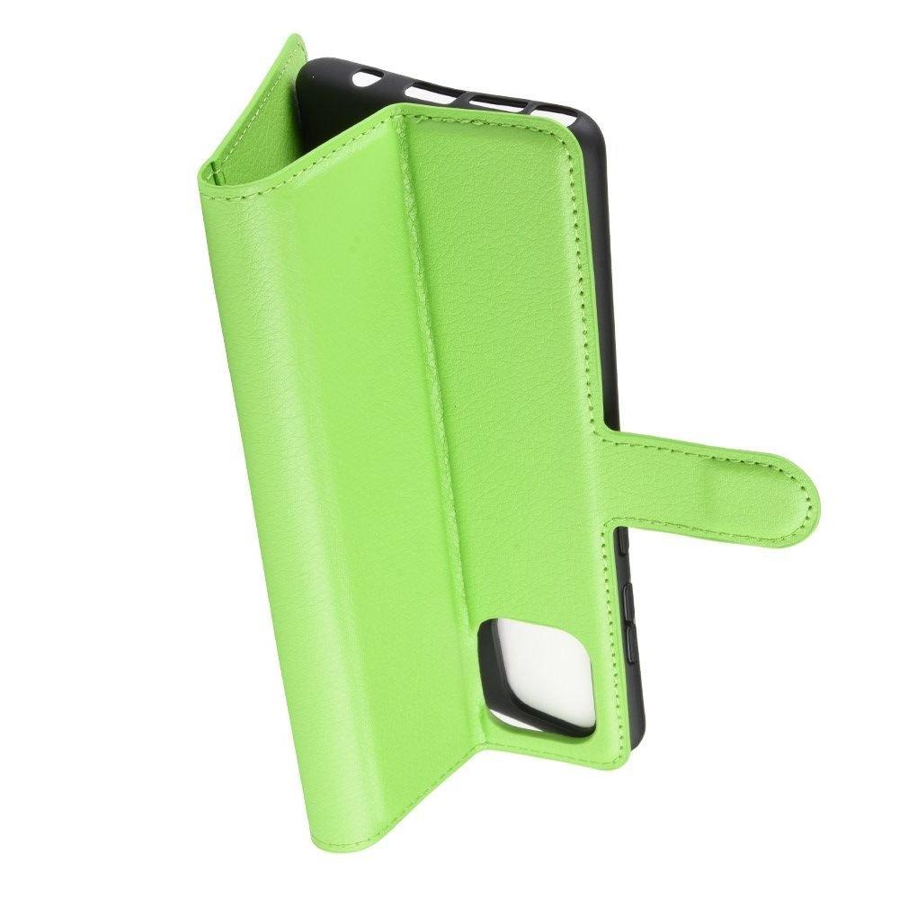 Чехол книжка кошелек с отделениями для карт и подставкой для Samsung Galaxy Note 10 Lite - Зеленый