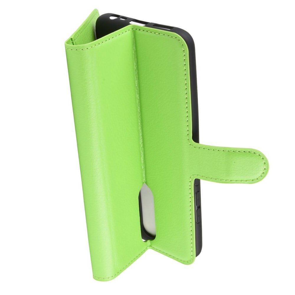 Чехол книжка кошелек с отделениями для карт и подставкой для Xiaomi Redmi 8 - Зеленый