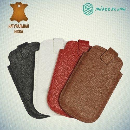 Чехол карман для телефона из натуральной кожи - коричневый