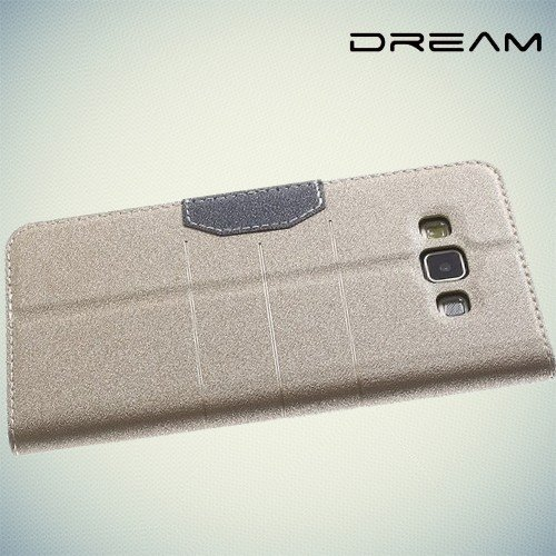 Чехол книжка для Samsung Galaxy A7 с отделением для банковской карты - Золотой