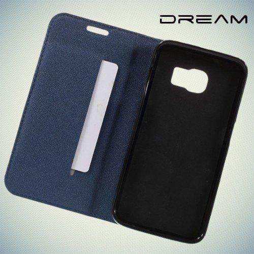 Чехол книжка для Samsung Galaxy S6 Edge с отделением для банковской карты - Синий