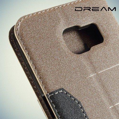 Чехол книжка для Samsung Galaxy S6 Edge с отделением для банковской карты - Золотой