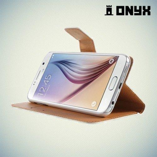 Чехол книжка для Samsung Galaxy S6 с орнаментом Розы на черном