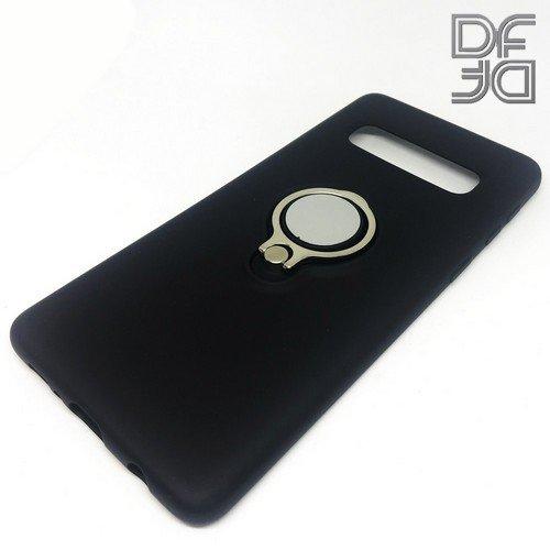 DF Силиконовый чехол с кольцом для пальца для Samsung Galaxy S10 встроенный металлический лист для магнитного держателя Черный