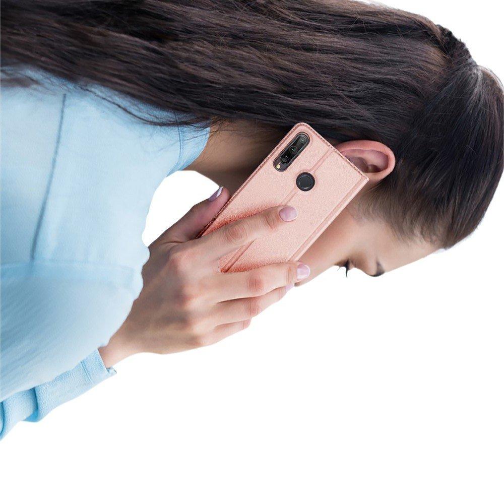 Dux Ducis чехол книжка для Huawei P40 lite E с магнитом и отделением для карты - Розовый