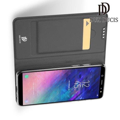 Dux Ducis чехол книжка для Samsung Galaxy A6 2018 SM-A600F с магнитом и отделением для карты - Серый