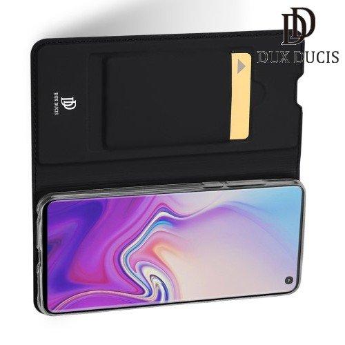 Dux Ducis чехол книжка для Samsung Galaxy S10 с магнитом и отделением для карты - Черный